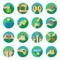 Longas mãos dando conjunto de ícones planas