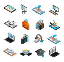 Conjunto de ícones isométrica de aprendizagem
