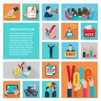 Conjunto de ícones plana de eleições
