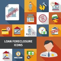 Ícones de encerramento de empréstimo