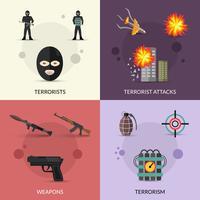 Conjunto plano de terrorismo vetor