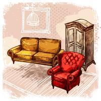 Ilustração de esboço de mobília vetor