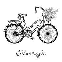 Bicicleta retrô com flores vetor