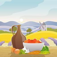 Paisagem rural com vida ainda