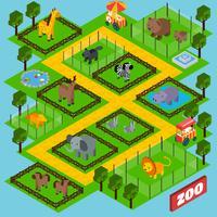 Parque Zoológico Isométrico vetor