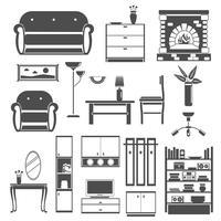 Conjunto de ícones interiores preto vetor