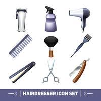 Conjunto de ícones de cabeleireiro vetor
