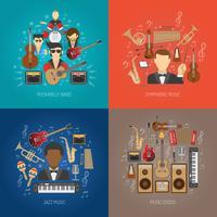 Conjunto de conceito de Design de música vetor