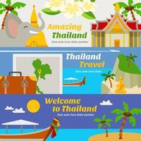 Conjunto de Banners de viagens Tailândia vetor
