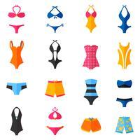 Conjunto de ícones plana de roupa de banho vetor