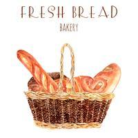Fresco, padeiro pão, cesta, ilustração vetor
