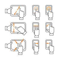 Conjunto de ícones de contorno de gestos de smartphone vetor