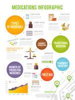 Conjunto de infográficos de farmacêutico vetor