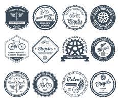 Conjunto de emblemas de ciclismo preto vetor