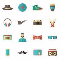 conjunto de plano hipster ícone