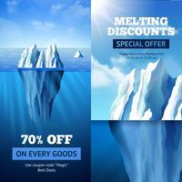 Banners de venda de iceberg vetor