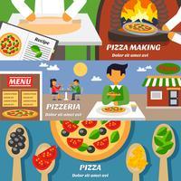 conjunto de bandeiras de pizza