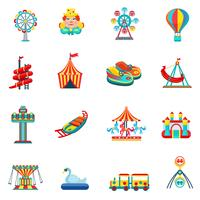 Conjunto de ícones de parque de diversões