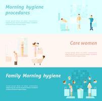 Banner de higiene de família e mulher de manhã vetor