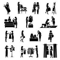 Conjunto de ícones pretos de compras de mulheres