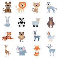 Conjunto de animais selvagens e em casa