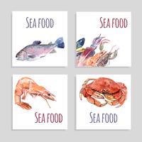 Conjunto de Banners de aquarela de frutos do mar vetor