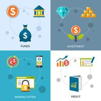 Conjunto de ícones de lucro de fundos de investimento vetor