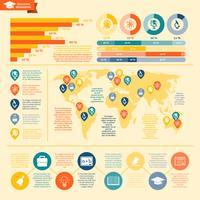 Conjunto de infográficos de educação vetor