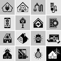 Ícones de eficiência de energia preto vetor