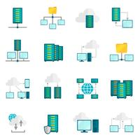 Conjunto de ícones plana de serviço de hospedagem