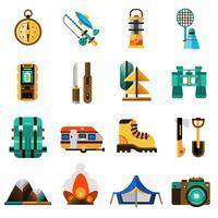 Conjunto de ícones de campismo