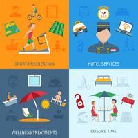 Conjunto de serviços do hotel vetor