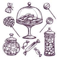 Conjunto de desenho de doces