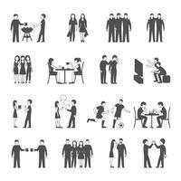 Conjunto de ícones pretos de amigos