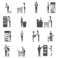Conjunto de ícones do comprador vetor