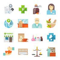 Conjunto de ícones plana de farmácia vetor