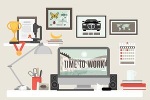 Espaço de trabalho de quarto plano vetor
