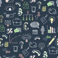 Negócios doodle padrão preto