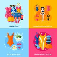 Conjunto de ícones decorativos de roupa de banho