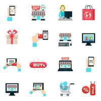 Internet compras ícone plano conjunto