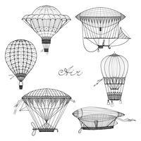 Conjunto de Doodle de balão e dirigível