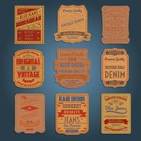 Conjunto de rótulos de denim jeans clássico de couro vetor