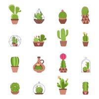 Conjunto de ícones de cacto vetor