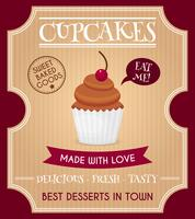 Cartaz retrô de cupcake vetor