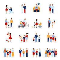 Conjunto de ícones familiares vetor