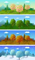 Conjunto de quatro bandeiras de paisagem de temporadas vetor