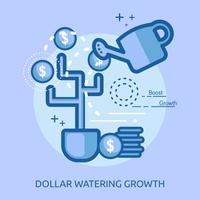 Ilustração conceitual de crescimento de rega de euro vetor