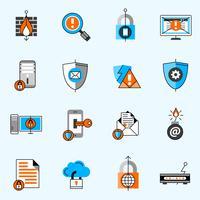 Conjunto de ícones de linha de segurança de dados vetor
