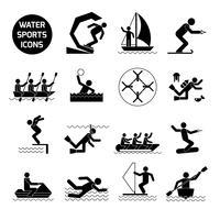 Esportes aquáticos ícones preto