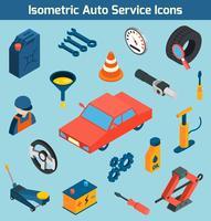 Conjunto de ícones isométrica de serviço de auto